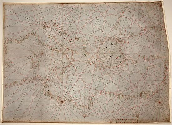The oldest original cartographic artifact in the Library of Congress: a portolan nautical chart of the Mediterranean Sea. Second quarter of the 14th century.