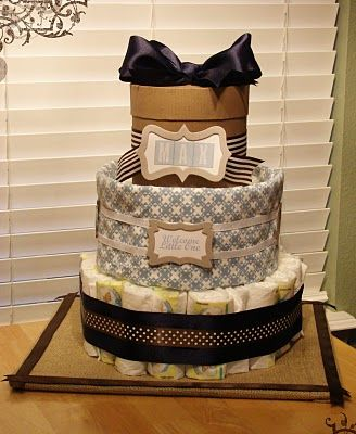 DIY Diaper Cake ~ The top tier is a gift box that you can put additional presents in