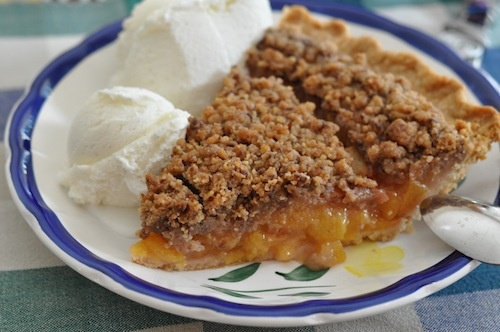Peach Pie with Heath Bar Crumb Topping - pies are always better with a crumb topping, especially when it has Heath bars added to it!