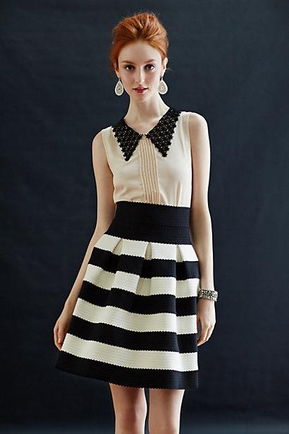 Scalloped Stripes Ponte Skirt #anthropologie