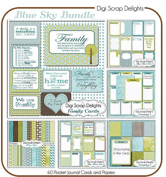 Sky Blue Pocket Journal Card Bundle 60 Project Life Style  Pocket Cards and 22 Papers Blue & Green Pocket Cards, Printable Digital Scrapbooking, Instant Download