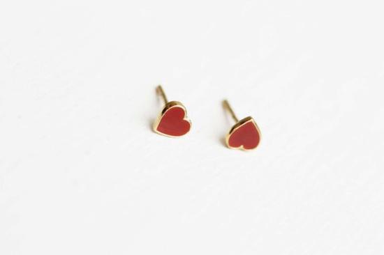Tiny Vintage Heart Studs