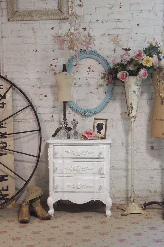 Painted Cottage Chic Shabby White Romantic by paintedcottages, $265.00