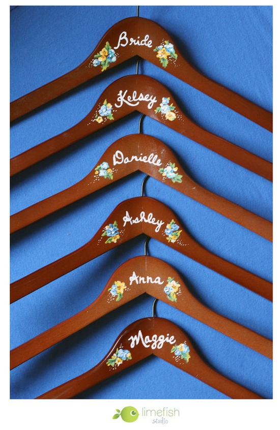 Custom Painted Bridal Party Hangers