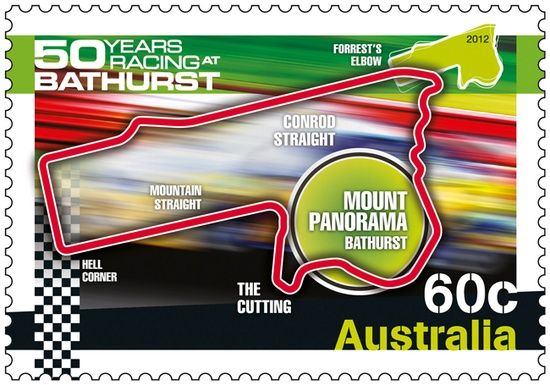 In 2012, Mount Panorama will be home to one of the largest sporting celebrations in Australia's history when the Supercheap Auto Bathurst 1000 celebrates 50 years of the Bathurst Endurance Race.  A 1,000-kilometre touring car race, traditionally run in early October and widely regarded as the pinnacle of Australian motor sport, the race has been won exclusively by V8 Supercars since 2000.  #car #philately
