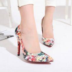 Hot high heels point-toe painting girls fashion shoes CZ-3769-Lovelysho...
