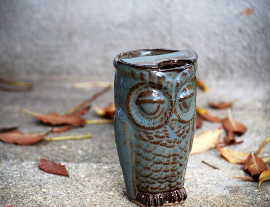 for the wise commuter -- owl travel mug ?