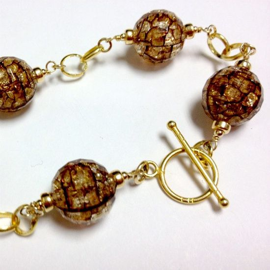 Crackle Bead Bracelet Brown Jewelry Gold by jewelrybycarmal, $45.00