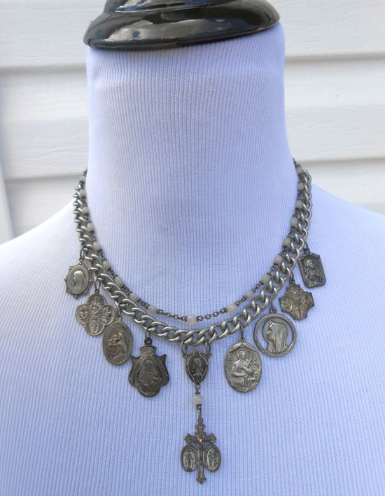 Vintage Religious Medal Necklace Repurposed Rosary by Vinchique, $195.00
