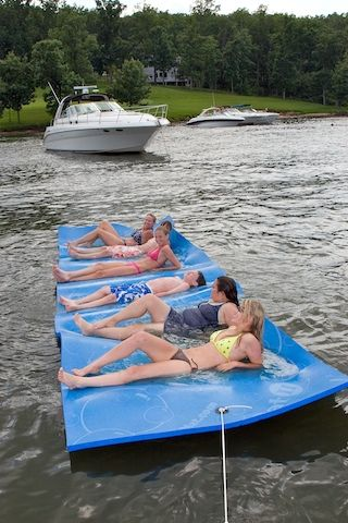 Water mat. You can lie on it and play on it and it won't sink. Perfect for lake days! NEED.  These are awesome, but you need to keep at a lake house or something, way to big and heavy to store and take places. Where it lands it must stay. Plus these are REALLY expensive too.