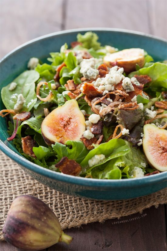 Fig, Blue Cheese & Bacon Salad with Fried Shallots