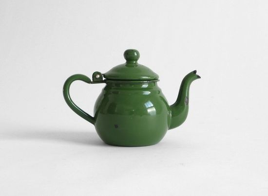 vintage green enamel teapot..had or have this...