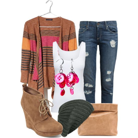 """Casual fall"" by larsoncoach on Polyvore #fashion #handmade #earrings"