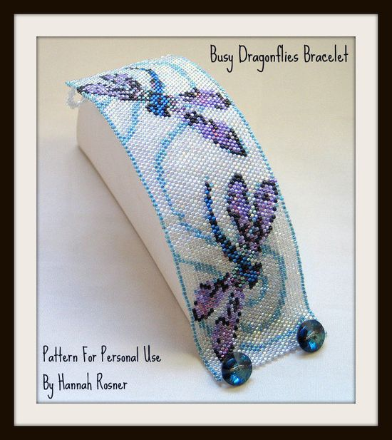 Bead Pattern Busy Dragonflies Bracelet - TUTORIAL INSTRUCTIONS. $10.00, via Etsy.