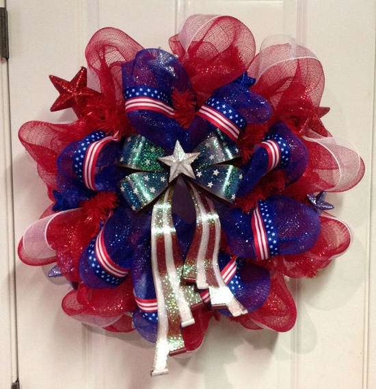 4th of July Wreath Patriotic Red White and Blue