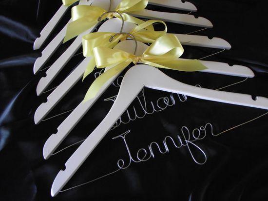 Set of 6 SALE Personalized Wedding Hanger/ Brides Hanger/ Bride/ Name Hanger/ Wedding Hanger/32 Ribbon Colors