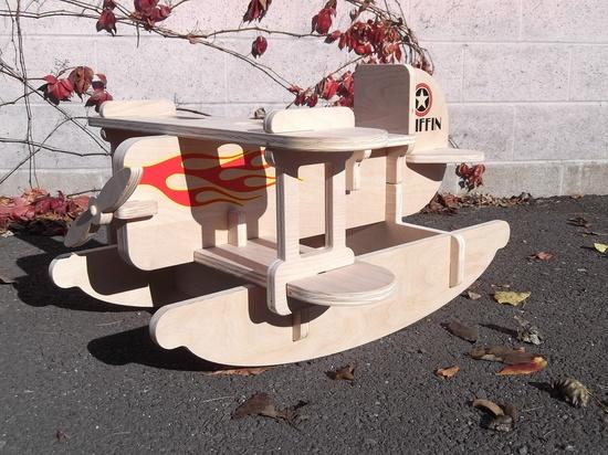 Children's Toy Rocker - Wooden Airplane.
