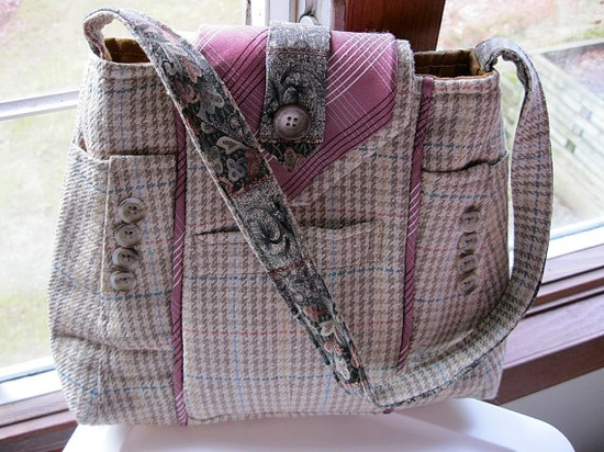 awesome handbag made from men's suit coat and necktie