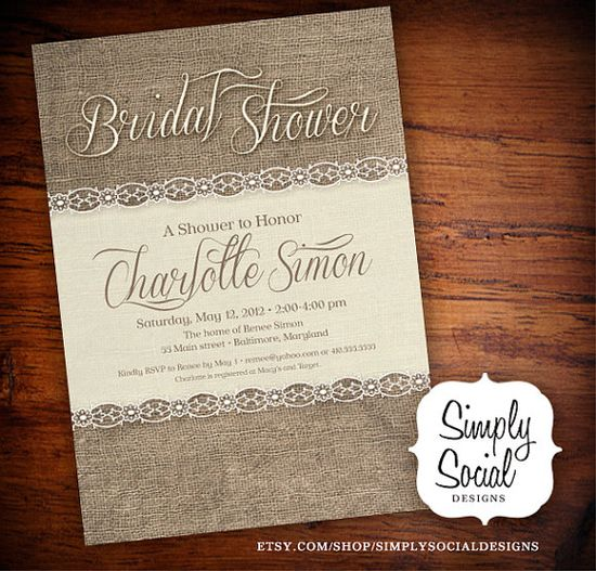Rustic Chic Burlap and Lace Bridal Shower by SimplySocialDesigns, $18.00