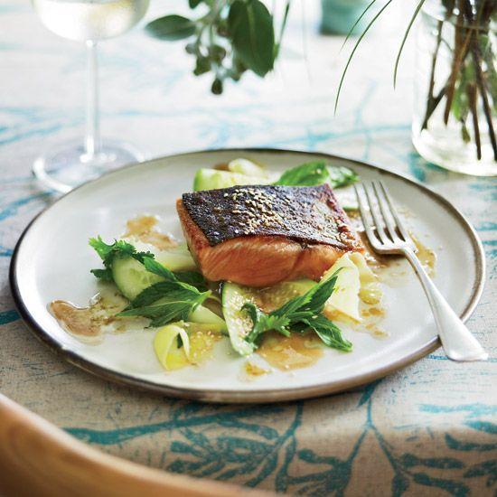 Barbecued Salmon with Green Mango Salad // More Terrific Salmon Recipes: www.foodandwine.c... #foodandwine