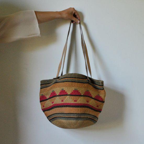vintage 70's  geometric pattern woven bag