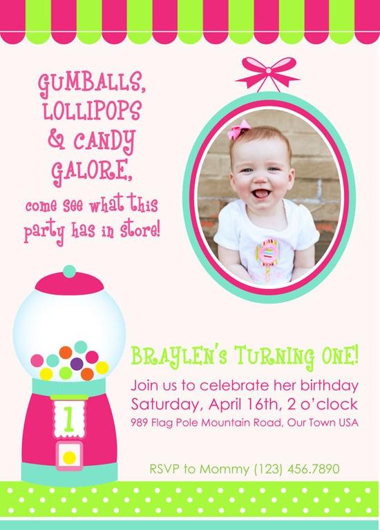 Candy Birthday invitation wording