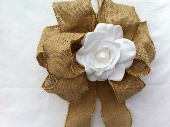 Burlap bow decoration or  wreath bow or pew by ButterBeanVintage, $15.00