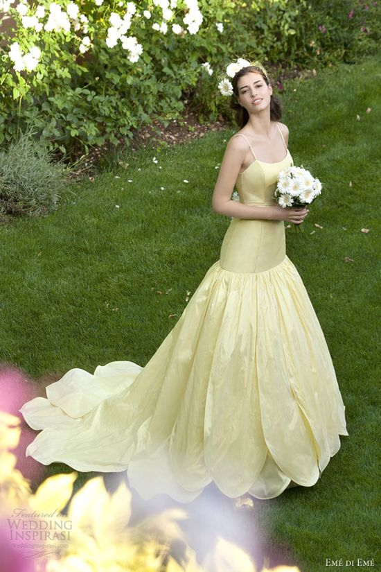 eme di eme wedding dresses 2013 yellow petal skirt gown