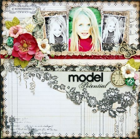 scrapbook page using prima flowers