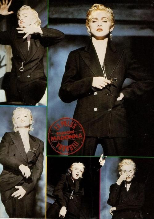Express yourself! Suit jacket, monocle,and platinum blonde ?