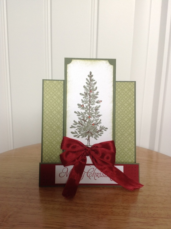 Stampin Up center step Christmas card with tree. $3.50, via Etsy.