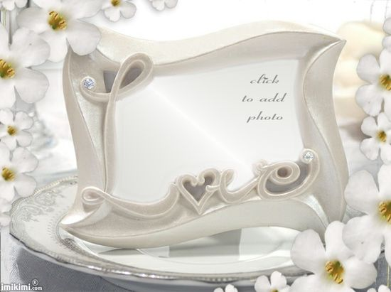 Wedding Photo Frame. Love. White.