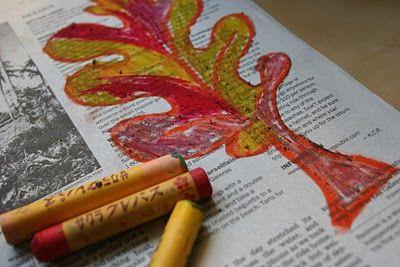 Oil pastels on newspaper