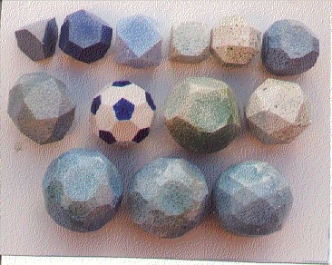 13 semi-regular polyhedra acc. to Archimedes. They contain polygons of more than one kind.  Ceramic model by Sigfrid G. Fregert, M.D., Ph. D  Emeritus Professor, Lund University
