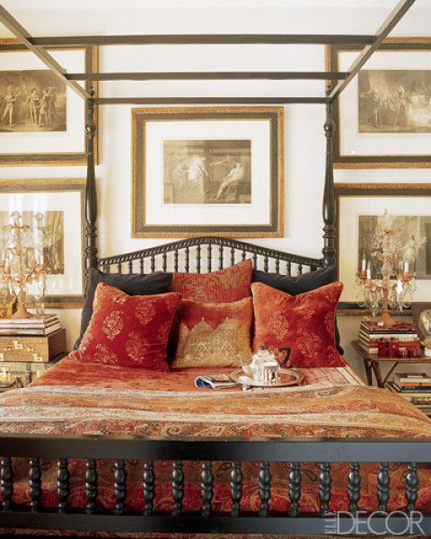 A Colonial-style four-poster in the master bedroom of designer Martyn Lawrence-Bullard's West Hollywood house.
