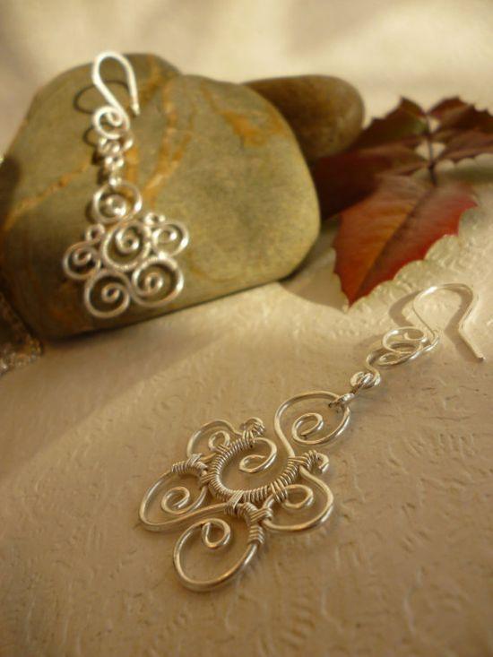 Spiral earrings wire jewelry by Juditta on Etsy, $18.00