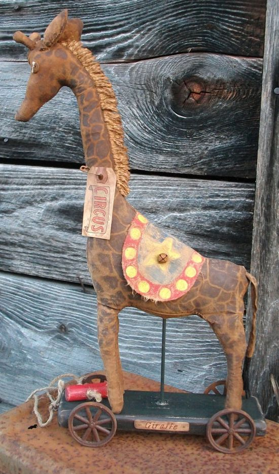 Primitive Vintage Look Pull Toy  Whimsical by CaneRiverCrafts, $95.00