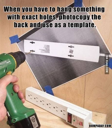 Photocopying the back of something you need to hang perfectly.