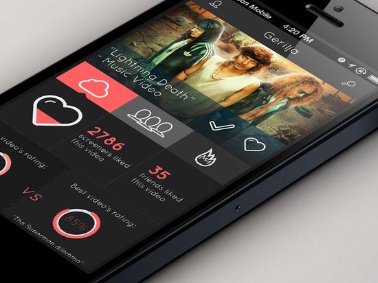 Screen - Concept App #design for a fake tv show/video social #app. Flat #UI.