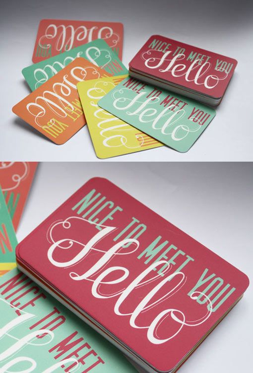 Bright Color Design - Colorful & vivid business card design, created using hand generated typography & colour combinations.