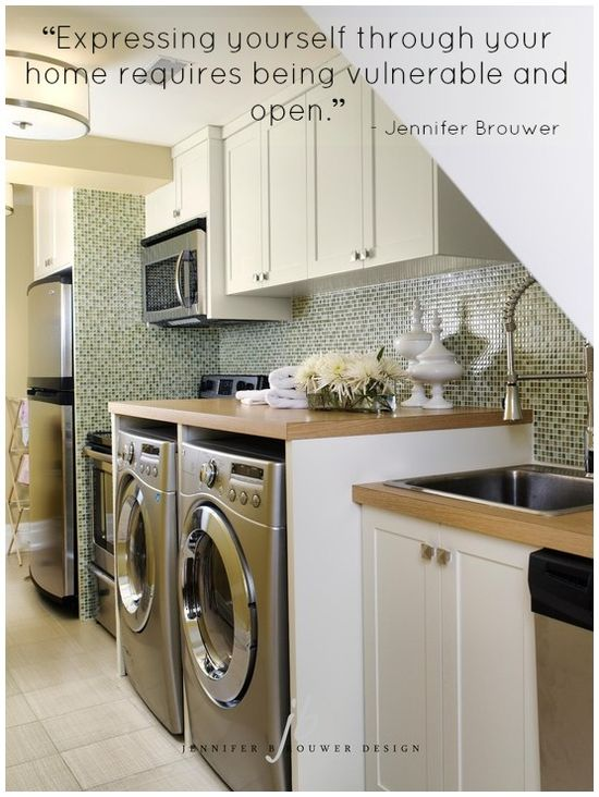 """Expressing yourself through your home requires being vulnerable and open."" #tips #Jenniferism #laundryroom #kitchen #jbd #quote"