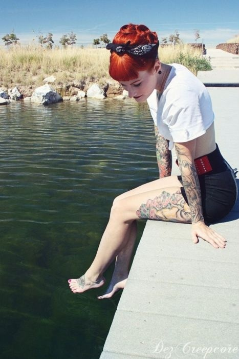 Retro looking girl with tattoos.  #tattoo #tattoos #ink