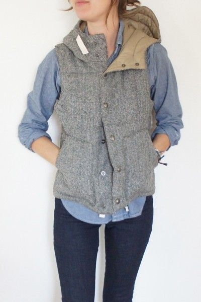 Herringbone hooded padded vest