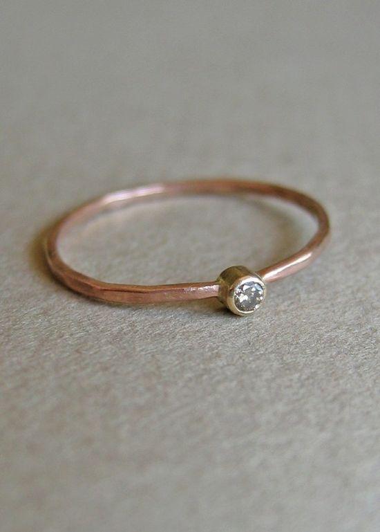 chocolate diamond and 14k rose gold ring (jewelry)