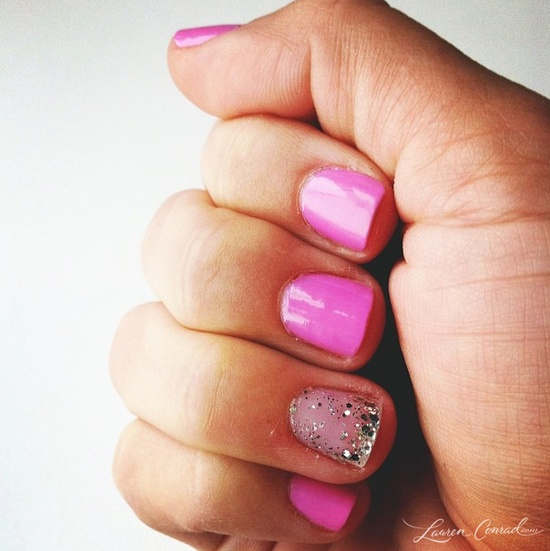 pink + sparkly nail art