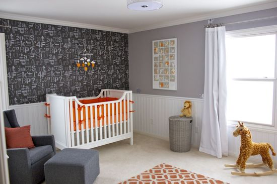 Wallpaper accent wall with modern accents in baby boy nursery - #projectnursery