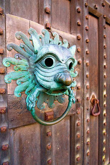 beautiful copper door knocker and door.