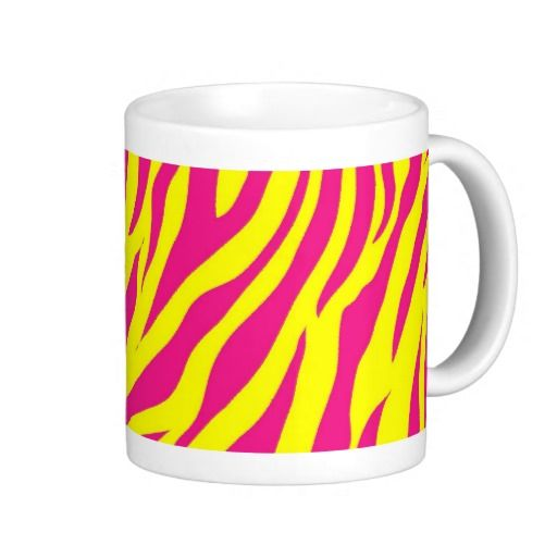 Hot Pink Yellow Wild Animal Print Zebra Stripes Coffee Mugs