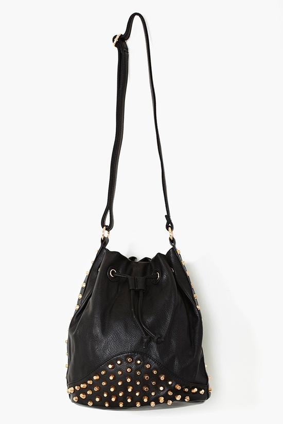 Studded Bucket Bag in Black