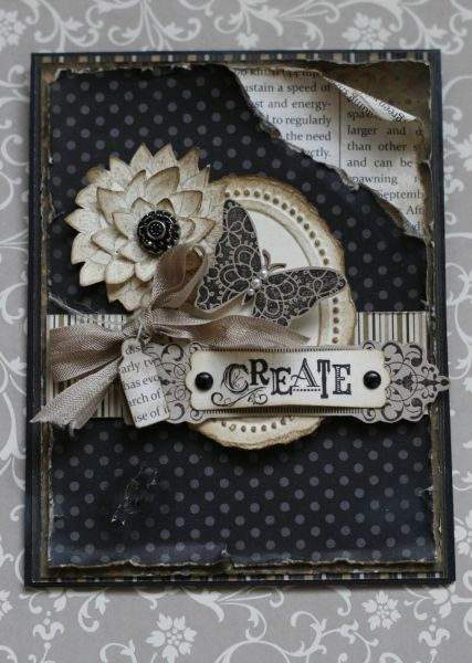Black butterfly w/cream accents - stampin up